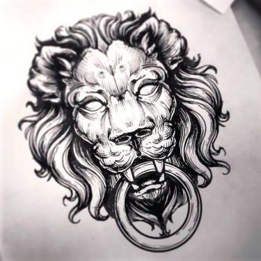 Black Lion Head Tattoo