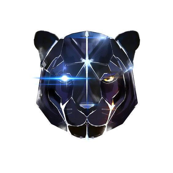Black Robot Panther Head Tattoo Design