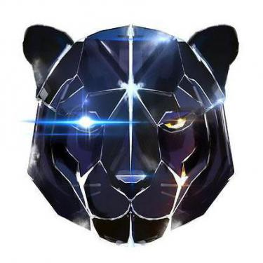 Black Robot Panther Head Tattoo