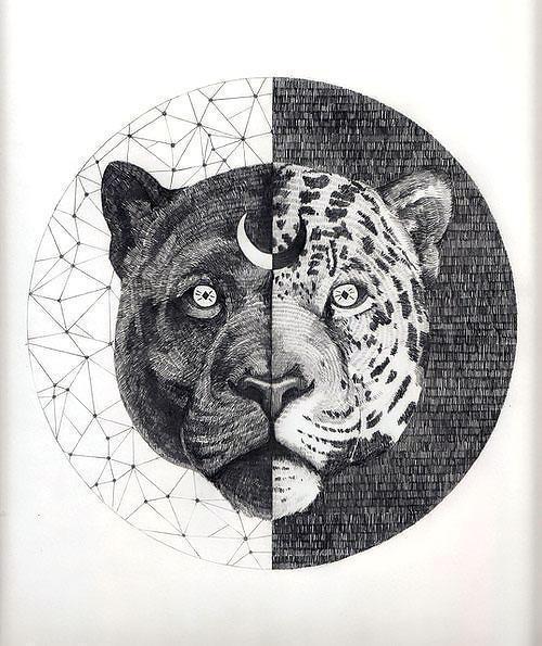Black Panther Jaguar Head Tattoo Design