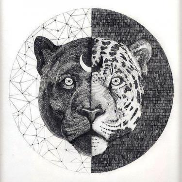 Black Panther Jaguar Head Tattoo