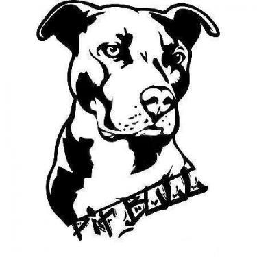 Black Pitbull Head Tattoo