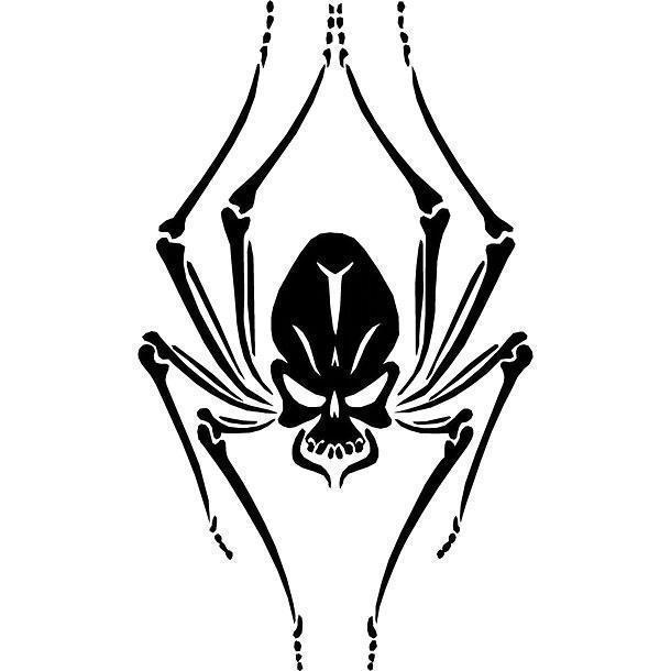Black Spider Skull Tattoo Design