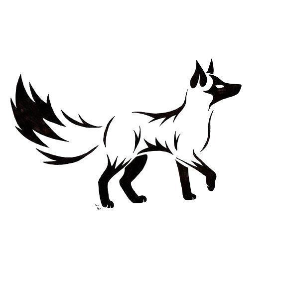 Black Tribal Fox Tattoo Design