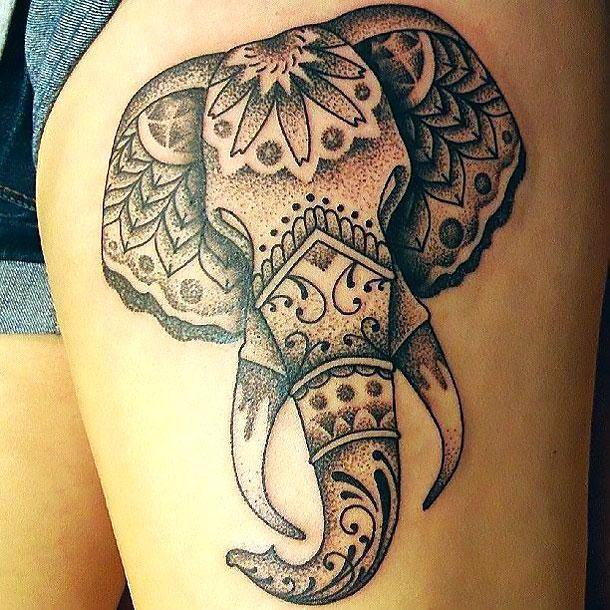 Asian Elephant Face Tattoo Idea