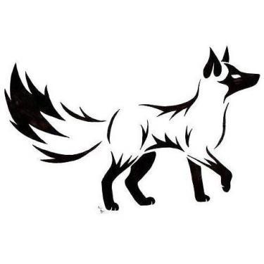 Black Tribal Fox Tattoo