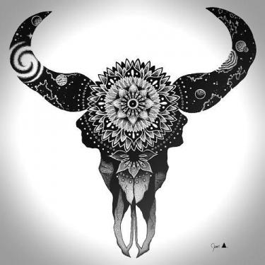 Blackwork Bull Skull Tattoo