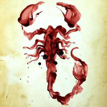Bloody Watercolor Scorpion Tattoo