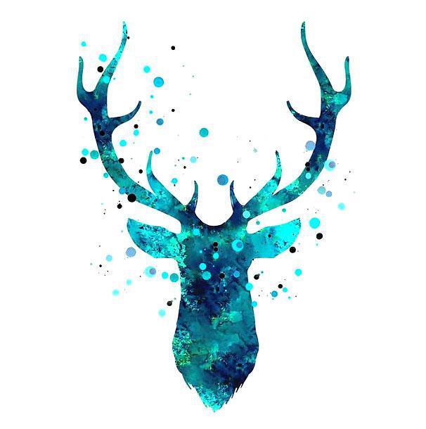 Blue Original Deer Head Tattoo Design