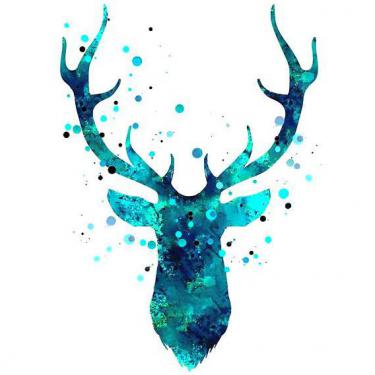 Blue Original Deer Head Tattoo