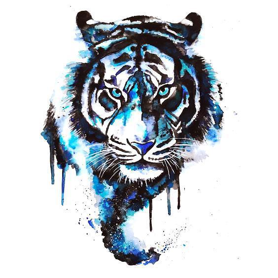 Blue Watercolor Tiger Tattoo Design