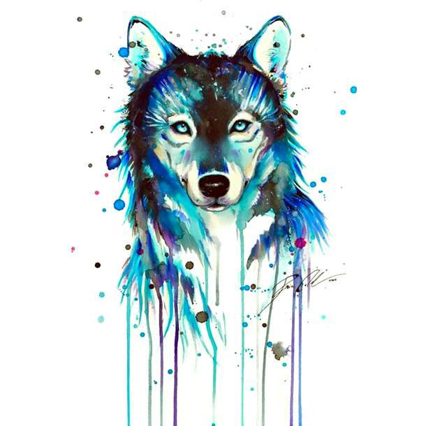 Blue Watercolor Wolf Tattoo Design