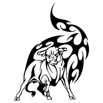 Bull In Tribal Tattoo Design