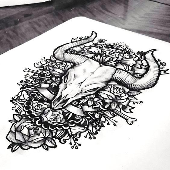 Bull Skull In Roses Tattoo Design