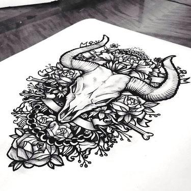 Bull Skull In Roses Tattoo