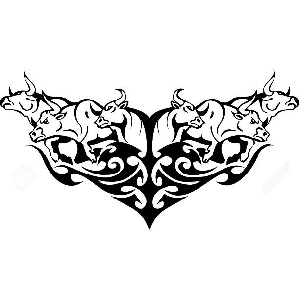 Bulls In Tribal Style Tattoo Design