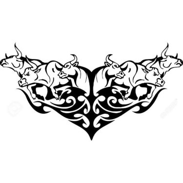 Bulls In Tribal Style Tattoo