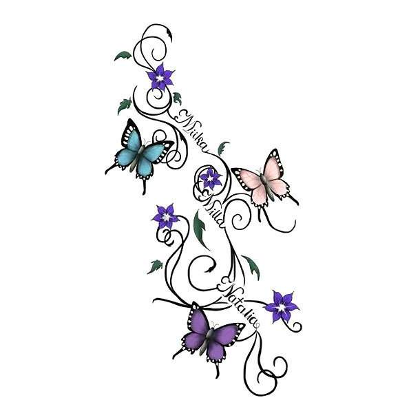 Butterflies With Names Tattoo Design