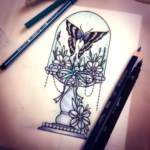 Butterfly Cloche Flowers Tattoo Design