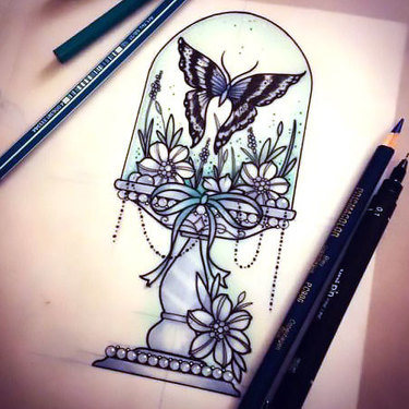 Butterfly Cloche Flowers Tattoo