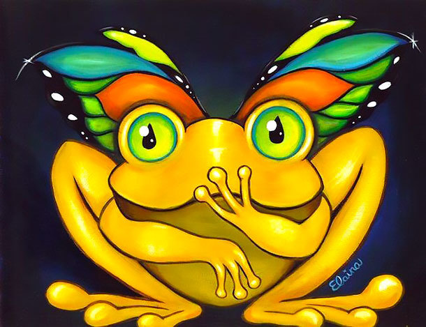 Butterfly Frog Tattoo Design