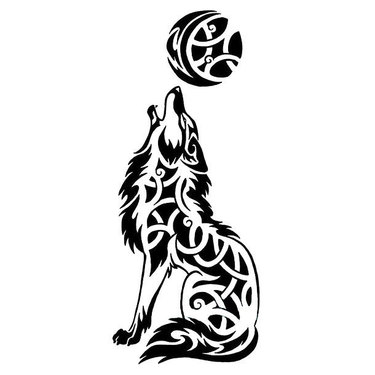 Celtic Wolf Howling At The Moon Tattoo