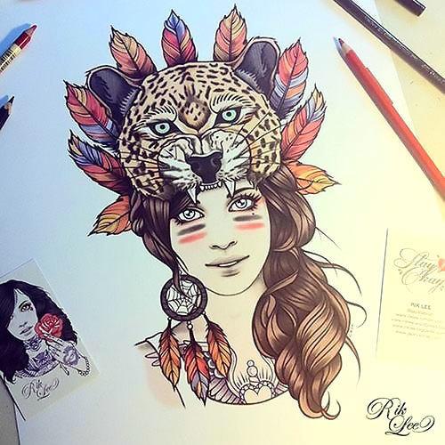 Cheetah and Girl Tattoo Design