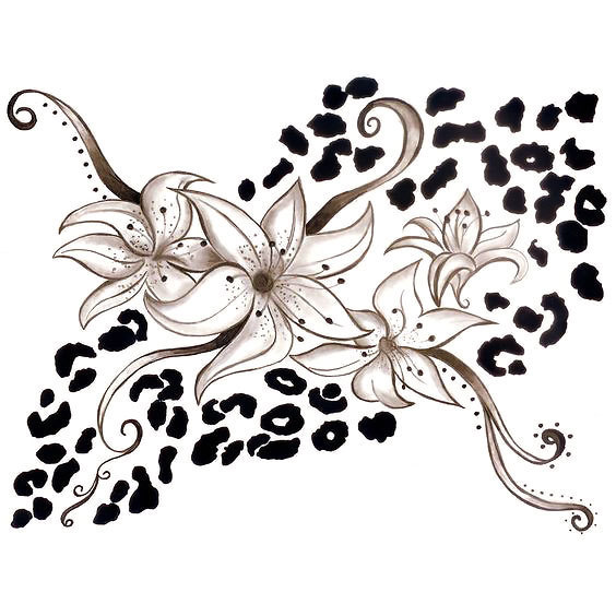 Cheetah Print With Lilias Tattoo Design