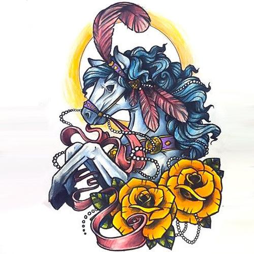 Colorful Circus Horse Tattoo Design