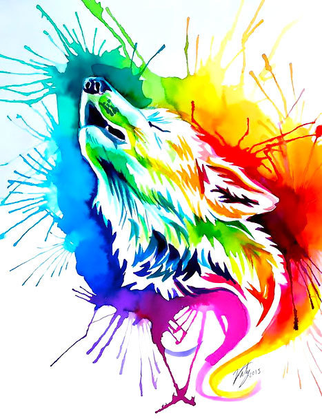 Colorfel Watercolor Wolf Tattoo Design