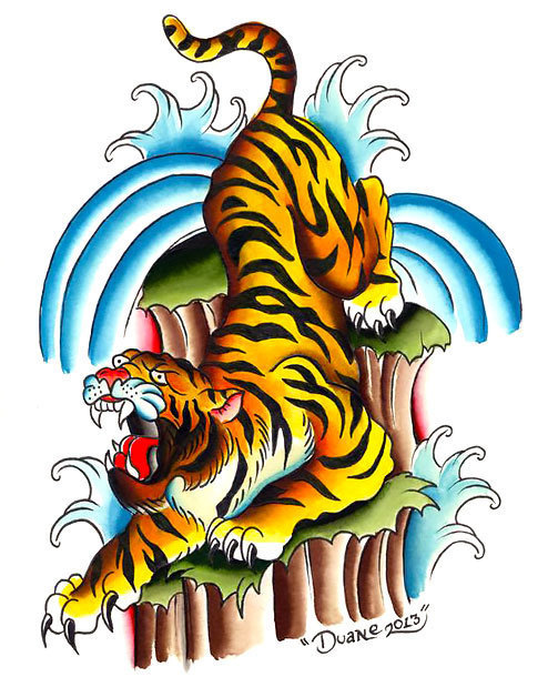 Colorful Asian Tiger Tattoo Design