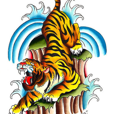 Colorful Asian Tiger Tattoo