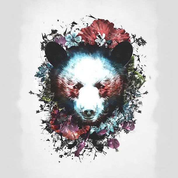 Colorful Bear Head Tattoo Design
