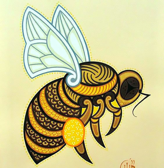 Colorful Bee Tattoo Design