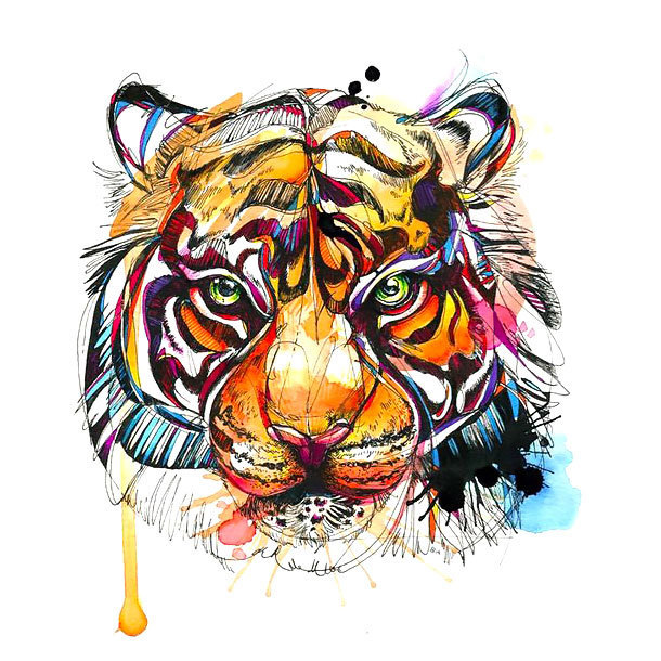 Colorful Bengal Tiger Tattoo Design