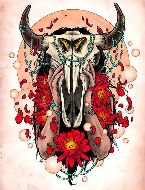 Colorful Bull Skull Tattoo Design