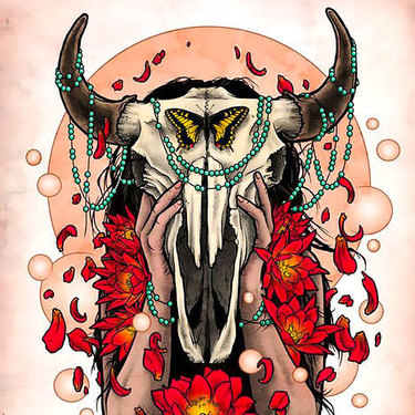 Colorful Bull Skull Tattoo