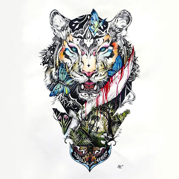 Colorful Detailed Tiger Tattoo Design