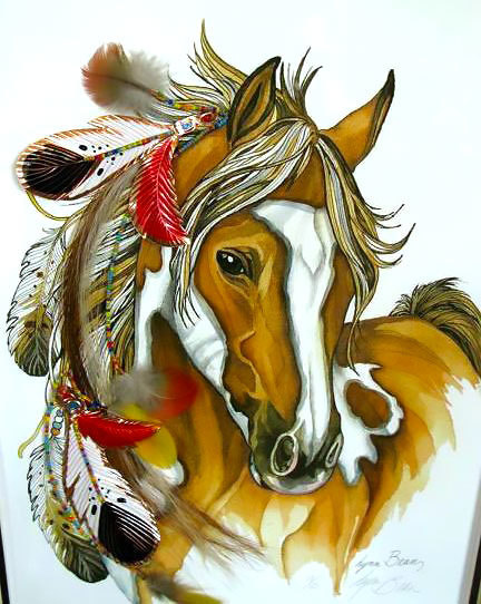 Colorful Indian Horse Tattoo Design
