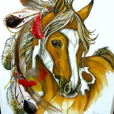 Colorful Indian Horse Tattoo
