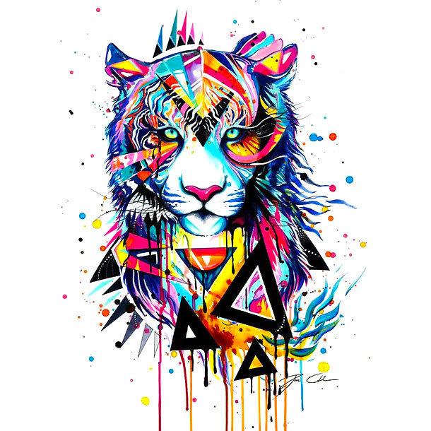 Colorful Interesting Tiger Tattoo Design