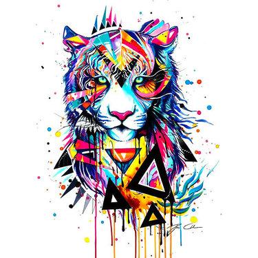 Colorful Interesting Tiger Tattoo