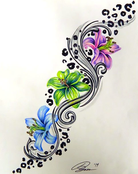 Colorful Leopard Print Flower Tattoo Design