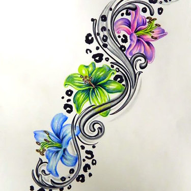 Colorful Leopard Print Flower Tattoo