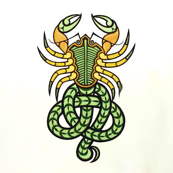 Colorful Scorpion Tattoo Design