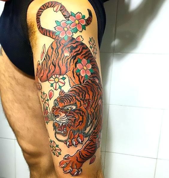 Asian Tiger Thigh Tattoo Idea