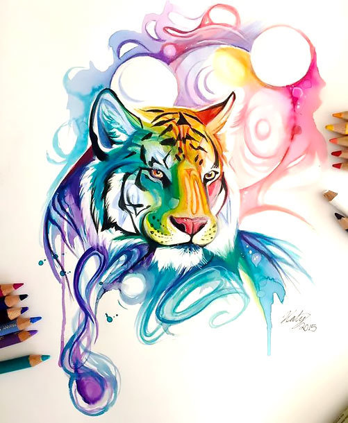 Colorful Watercolor Tiger Tattoo Design