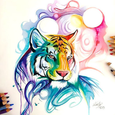 Colorful Watercolor Tiger Tattoo