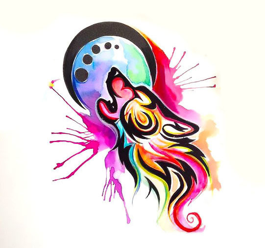Colorful Watercolor Tribal Wolf Tattoo Design