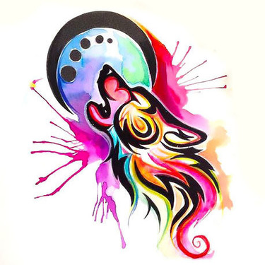 Colorful Watercolor Tribal Wolf Tattoo